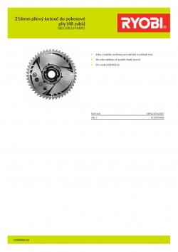 RYOBI SB216K16T48A1 216mm pilový kotouč do pokosové pily (48 zubů) 5132003806 A4 PDF