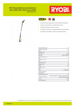 RYOBI RPP1820 18V Akumulátorová prořezávací pila, délka lišty 20cm (1x1.5Ah) 5133003721 A4 PDF