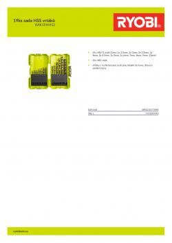 RYOBI RAK19HHS2 19ks sada HSS vrtáků 5132004390 A4 PDF