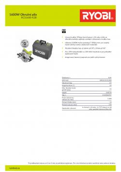 RYOBI RCS1600 1600W Okružní pila 5133002927 A4 PDF