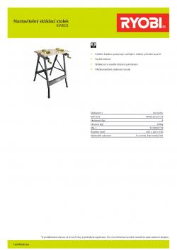 RYOBI RWB01 Nastavitelný skládací stolek 5133001778 A4 PDF