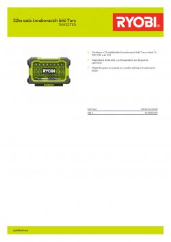 RYOBI RAK32TSD 32ks sada šroubovacích bitů Torx 5132002792 A4 PDF
