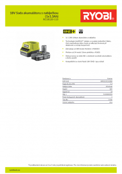 RYOBI RC18120-113 18V Sada akumulátoru s nabíječkou (1x1.3Ah) 5133003354 A4 PDF