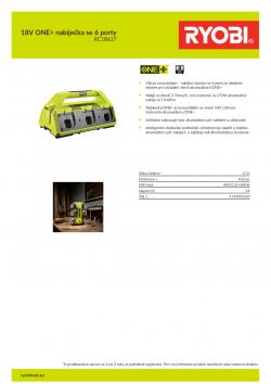 RYOBI RC18627 18V ONE+ nabíječka se 6 porty 5133002630 A4 PDF