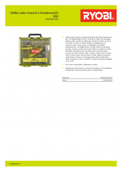 RYOBI RAKDD106 106ks sada vrtacích a šroubovacích bitů 5132004759 A4 PDF