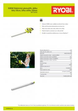 RYOBI RHT5050 500W Elektrický plotostřih, délka lišty 50cm, šířka střihu 20mm 5133001811 A4 PDF