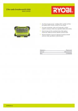 RYOBI RAK15MSD 15ks sada šroubovacích bitů 5132003306 A4 PDF