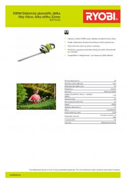 RYOBI RHT5150 500W Elektrický plotostřih, délka lišty 50cm, šířka střihu 22mm 5133002795 A4 PDF