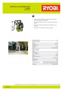 RYOBI RPW110B Elektrický vysokotlaký čistič 110Bar 5133003747 A4 PDF