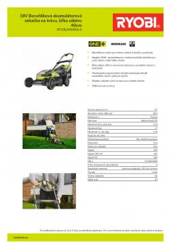 RYOBI RY18LMX40A 18V Bezuhlíková akumulátorová sekačka na trávu, šířka záběru 40cm 5133004584 A4 PDF