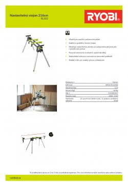RYOBI RLS0 Nastavitelný stojan 216cm 5133001817 A4 PDF