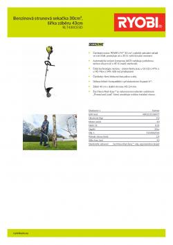 RYOBI RLT430CESD Benzinová strunová sekačka 30cm³, šířka záběru 43cm 5133002546 A4 PDF