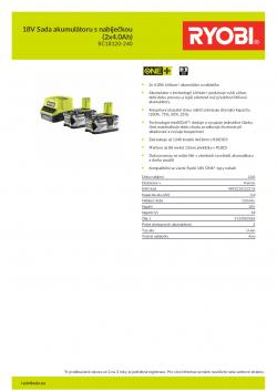 RYOBI RC18120-240 18V Sada akumulátoru s nabíječkou (2x4.0Ah) 5133003363 A4 PDF