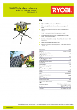 RYOBI RTS1800EF 1800W Stolní pila se stojanem s kolečky, 254mm kotouč 5133002025 A4 PDF