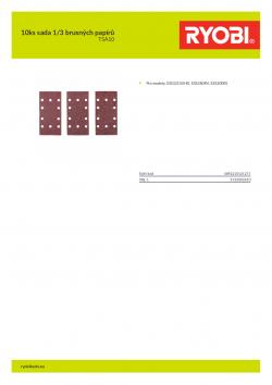 RYOBI TSA10 10ks sada 1/3 brusných papírů 5132002610 A4 PDF