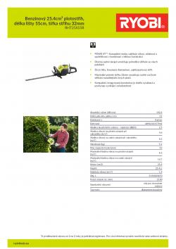 RYOBI RHT25X55R Benzinový 25.4cm³ plotostřih, délka lišty 55cm, šířka střihu 32mm 5133003670 A4 PDF