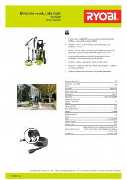 RYOBI RPW150XRB Elektrický vysokotlaký čistič 150Bar 5133003749 A4 PDF