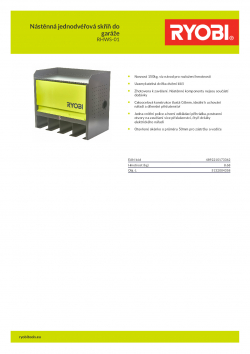 RYOBI RHWS-01 Nástěnná jednodvéřová skříň do garáže 5132004358 A4 PDF