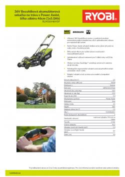 RYOBI RLM36X46H5P 36V Bezuhlíková akumulátorová sekačka na trávu s Power Assist, šířka záběru 46cm (1x5.0Ah) 5133002811 A4 PDF
