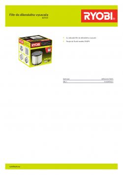 RYOBI RPVF Filtr do dílenského vysavače 5132004211 A4 PDF