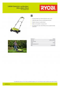 RYOBI RY1400SF35A 1400W Elektrický vertikutátor, šířka záběru 35cm 5133004566 A4 PDF