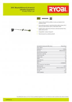 RYOBI RY36ELTX33A 36V Akumulátorová strunová sekačka Expand-it 5133004547 A4 PDF