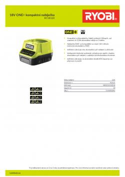 RYOBI RC18120 18V ONE+ kompaktní nabíječka 5133002891 A4 PDF