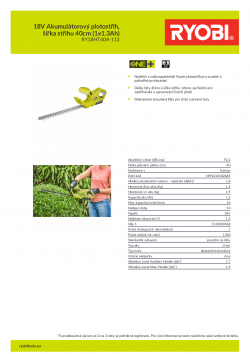 RYOBI RY18HT40A 18V Akumulátorový plotostřih, šířka střihu 40cm (1x1.3Ah) 5133004568 A4 PDF