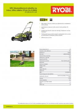 RYOBI RY18LM37A 18V Akumulátorová sekačka na trávu, šířka záběru 37cm (1x 4.0Ah) 5133004578 A4 PDF