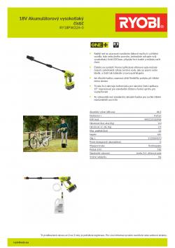 RYOBI RY18PW22A 18V Akumulátorový vysokotlaký čistič 5133004570 A4 PDF