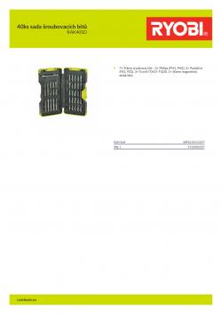RYOBI RAK40SD 40ks sada šroubovacích bitů 5132002257 A4 PDF