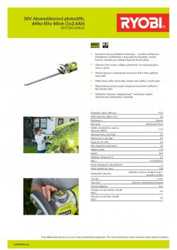 RYOBI RHT3660R 36V Akumulátorový plotostřih, délka lišty 60cm (1x2.6Ah) 5133002527 A4 PDF