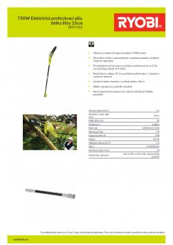 RYOBI RPP755E 750W Elektrická prořezávací pila, délka lišty 25cm 5133002321 A4 PDF