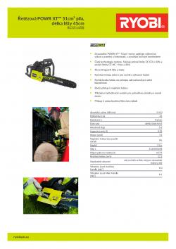 RYOBI RCS5145B Řetězová POWR XT™ 51cm³ pila, délka lišty 45cm 5133001858 A4 PDF