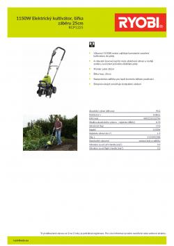 RYOBI RCP1225 1150W Elektrický kultivátor, šířka záběru 25cm 5133002388 A4 PDF
