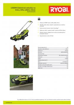 RYOBI RLM13E33S 1300W Elektrická sekačka na trávu, šířka záběru 33cm 5133002343 A4 PDF
