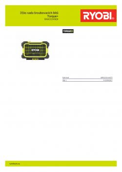 RYOBI RAK31MSDI 31ks sada šroubovacích bitů Torque+ 5132002817 A4 PDF