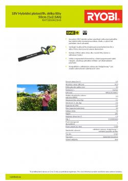 RYOBI RHT1850H 18V Hybridní plotostřih, délka lišty 50cm (1x2.5Ah) 5133003660 A4 PDF
