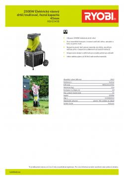 RYOBI RSH2545B 2500W Elektrický rázový drtič/mulčovač, řezná kapacita 45mm 5133002512 A4 PDF