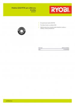 RYOBI RAKEF Matice EASYFIX pro úhlovou brusku 5132004835 A4 PDF
