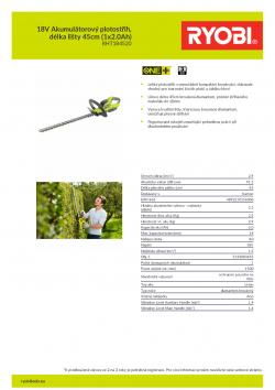 RYOBI RHT1845 18V Akumulátorový plotostřih, délka lišty 45cm (1x2.0Ah) 5133003655 A4 PDF