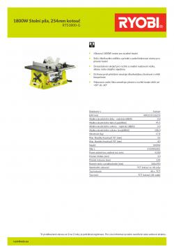 RYOBI RTS1800 1800W Stolní pila, 254mm kotouč 5133002021 A4 PDF