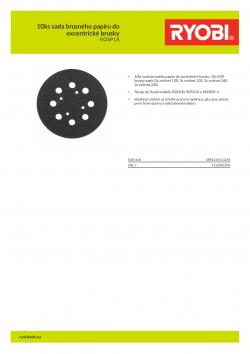 RYOBI ROSP1 10ks sada brusného papíru do excentrické brusky 5132002246 A4 PDF