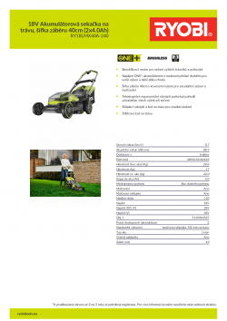 RYOBI RY18LMX40A 18V Akumulátorová sekačka na trávu, šířka záběru 40cm (2x4.0Ah) 5133004587 A4 PDF