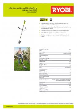 RYOBI RBC1820B 18V Akumulátorový křovinořez s řidítky (1x4.0Ah) 5133003713 A4 PDF