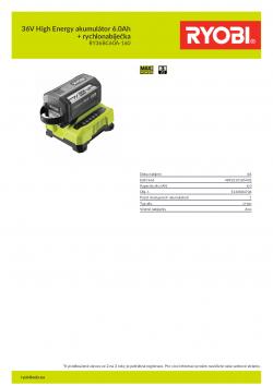 RYOBI RY36BC60A-160 36V High Energy akumulátor 6.0Ah + rychlonabíječka 5133004706 A4 PDF