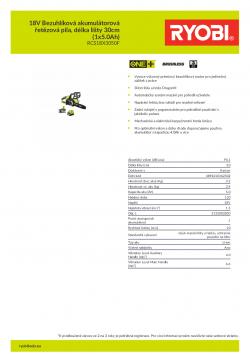 RYOBI OCS1830 18V Bezuhlíková akumulátorová řetězová pila, délka lišty 30cm (1x5.0Ah) 5133003830 A4 PDF