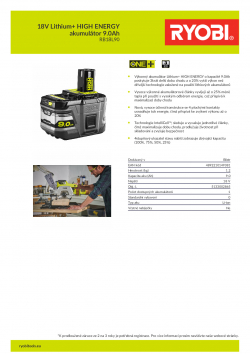 RYOBI RB18L90 18V Lithium+ HIGH ENERGY akumulátor 9.0Ah 5133002865 A4 PDF