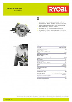 RYOBI RCS1400 1400W Okružní pila 5133002778 A4 PDF