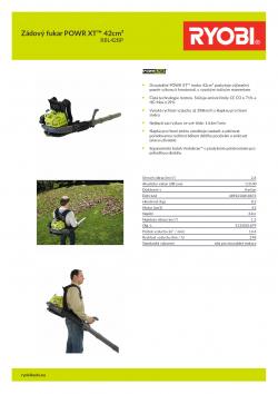 RYOBI RBL42BP Zádový fukar POWR XT™ 42cm³ 5133001879 A4 PDF